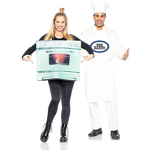 Adult Chef & Bun in the Oven Couples Maternity Costumes Image #1