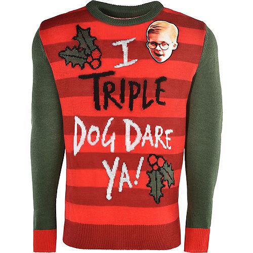 Adult Triple Dog Dare Ya Ugly Christmas Sweater - A Christmas Story Image #1