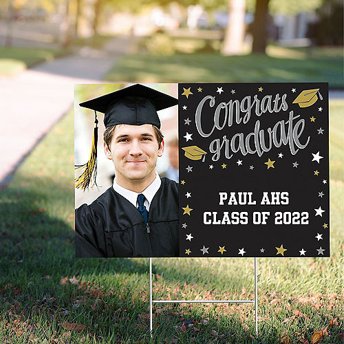 Custom Black, Gold & Silver Graduation Photo Yard Sign Image #1