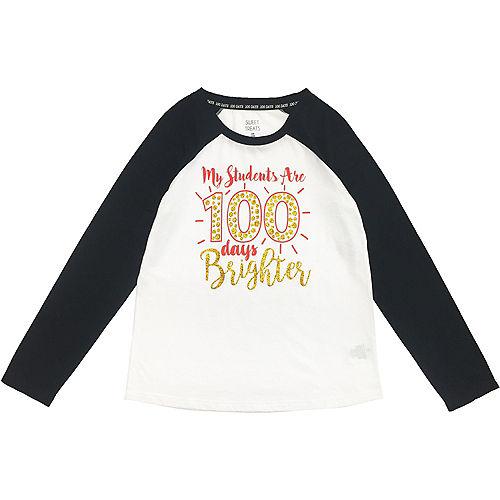 Adult 100 Days Brighter Long-Sleeve Raglan Shirt - 100 Days of School Image #1
