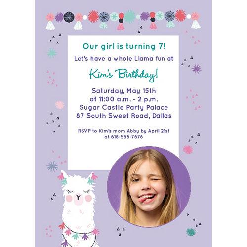 Custom Llama Fun Birthday Photo Invitations Image #1