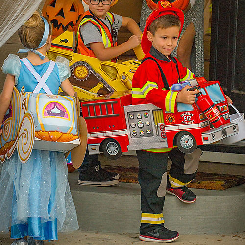 Child Fire Truck Ride-On Costume with Sound Effect Image #2