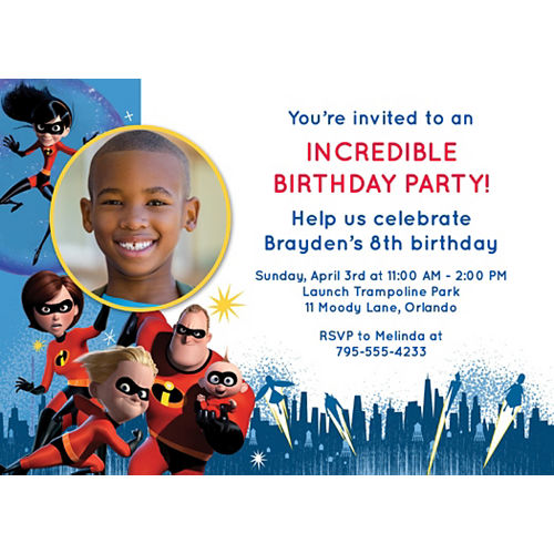 Custom Incredibles 2 Photo Invitations Image #1