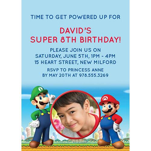 Custom Super Mario Photo Invitations Image #1