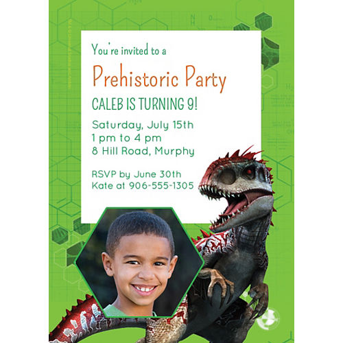 Custom Jurassic World Photo Invitations Image #1