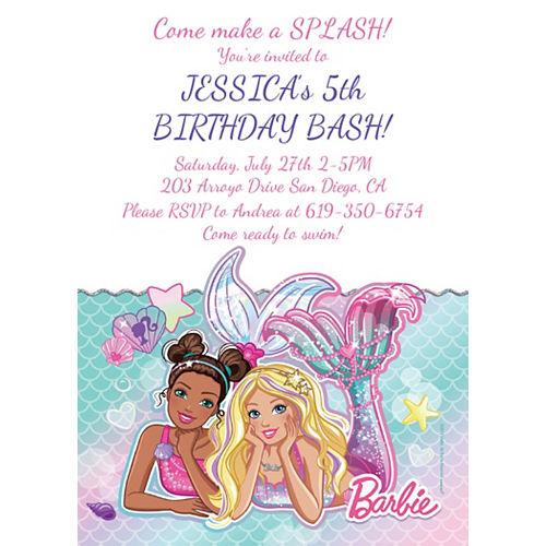 Custom Barbie Mermaid Invitations Image #1