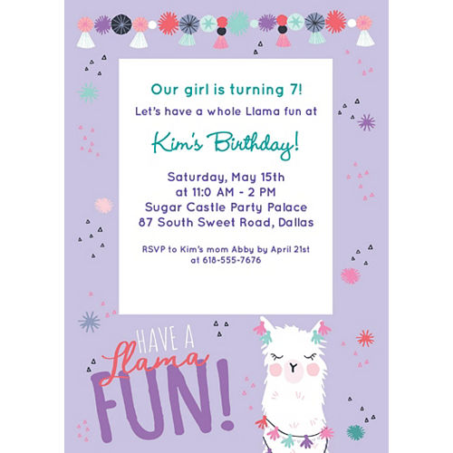 Custom Llama Fun Birthday Invitations Image #1
