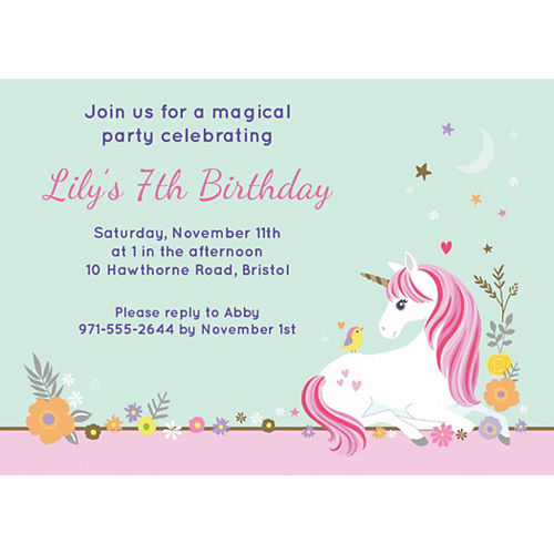 Custom Magical Unicorn Invitations Image #1