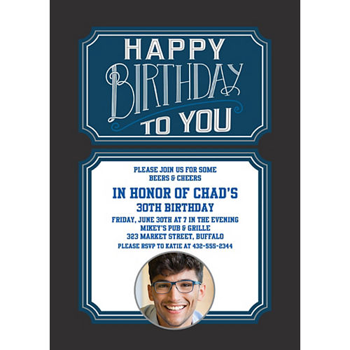 Custom Happy Birthday Man Photo Invitations Image #1