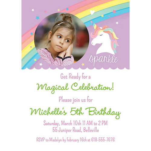 Custom Magical Rainbow Birthday Photo Invitations Image #1