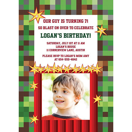 Custom Pixelated Photo Invitations Image #1