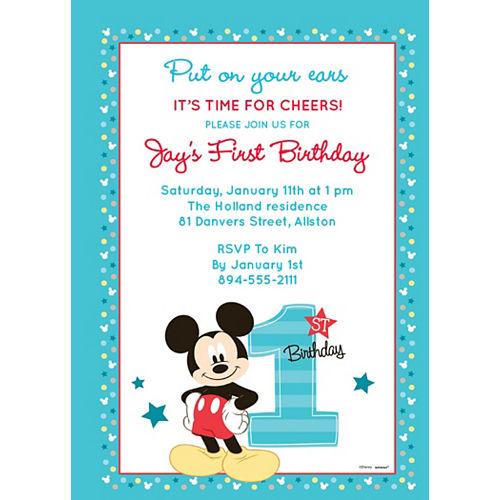Custom Mickey's 1st Birthday Invitations Image #1