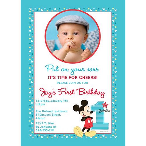 Custom Mickey's 1st Birthday Photo Invitations Image #1