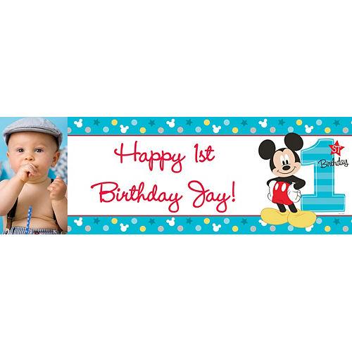 Custom Mickey's 1st Birthday Photo Horizontal Banner Image #1