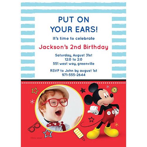 Custom Mickey on the Go Photo Invitations Image #1