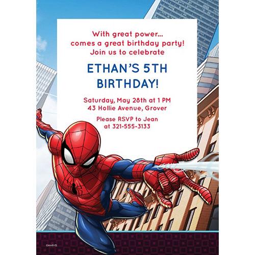 Custom Webbed Wonder Spider-Man Invitations Image #1