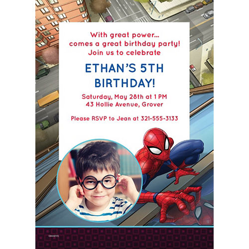 Custom Webbed Wonder Spider-Man Photo Invitations Image #1