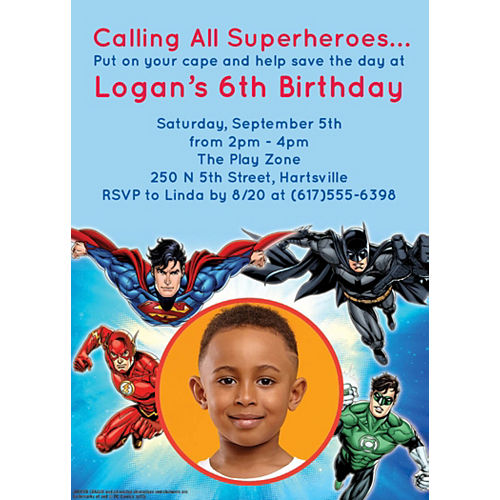 Custom Justice League Photo Invitations Image #1