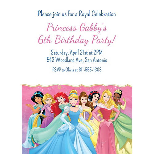 Custom Once Upon a Time Disney Princess Invitations Image #1
