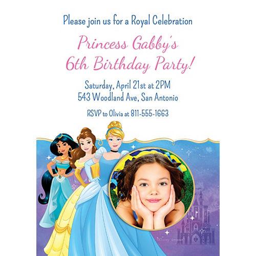 Custom Once Upon a Time Disney Princess Photo Invitations Image #1