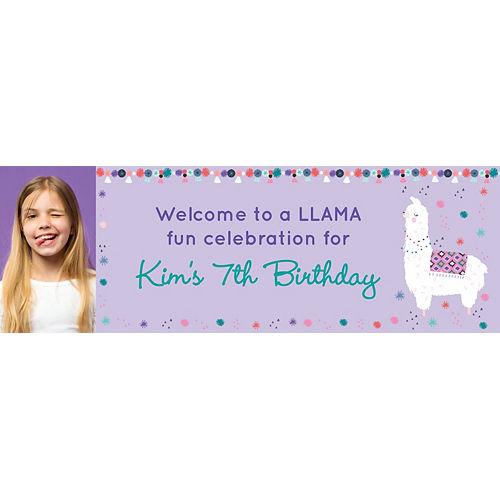 Custom Llama Fun Birthday Photo Horizontal Banner Image #1