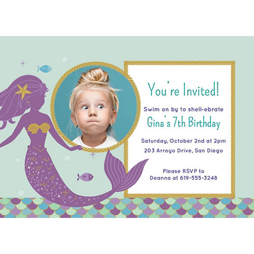 Custom Mermaid Wishes Photo Invitations Image #1