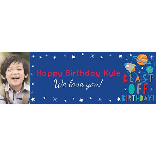 Custom Blast Off Birthday Photo Horizontal Banner Image #1