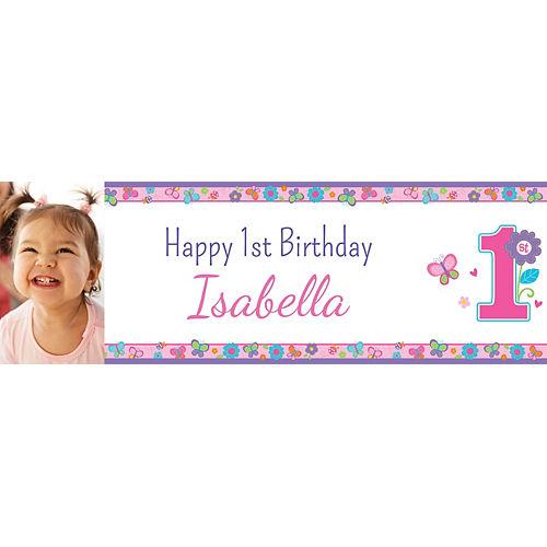 Custom Sweet Birthday Girl Photo Horizontal Banner Image #1