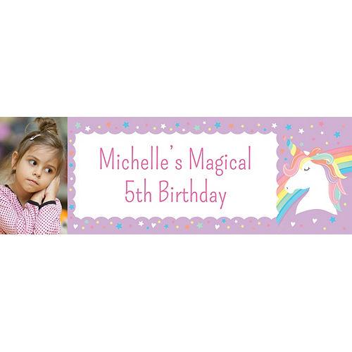 Custom Magical Rainbow Birthday Photo Horizontal Banner Image #1