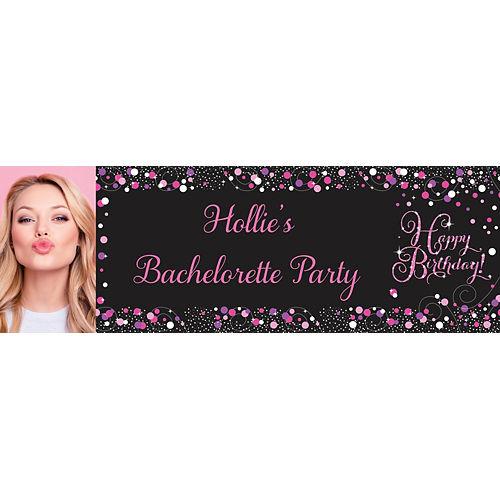 Custom Pink & Gold Confetti Photo Horizontal Banner Image #1