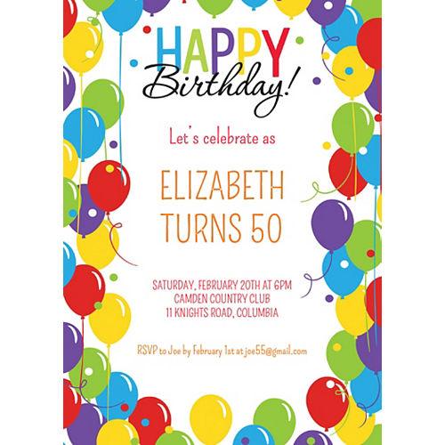 Custom Rainbow Balloon Bash Invitations Image #1