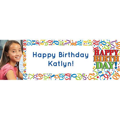 Custom Colorful Birthday Photo Horizontal Banner Image #1