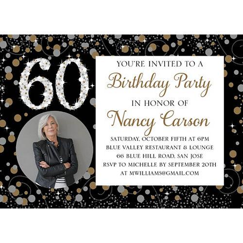 Custom Sparkling Celebration 60 Photo Invitations Image #1