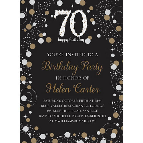 Custom Sparkling Celebration 70 Invitations Image #1