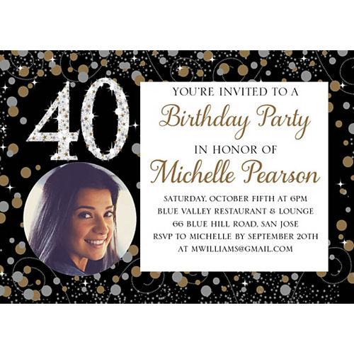 Custom Sparkling Celebration 40 Photo Invitations Image #1