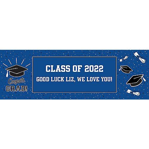 Custom School Colors Pride Blue Graduation Horizontal Banner Image #1