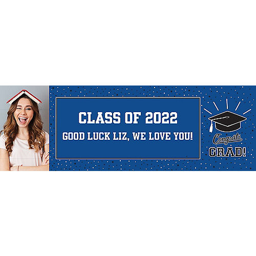 Nav Item for Custom School Colors Pride Blue Graduation Photo Horizontal Banner Image #1