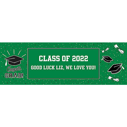 Custom School Colors Pride Green Horizontal Banner Image #1
