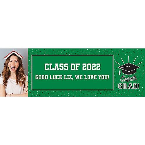 Custom School Colors Pride Green Photo Horizontal Banner Image #1