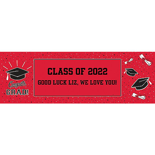 Custom School Colors Pride Red Horizontal Banner Image #1