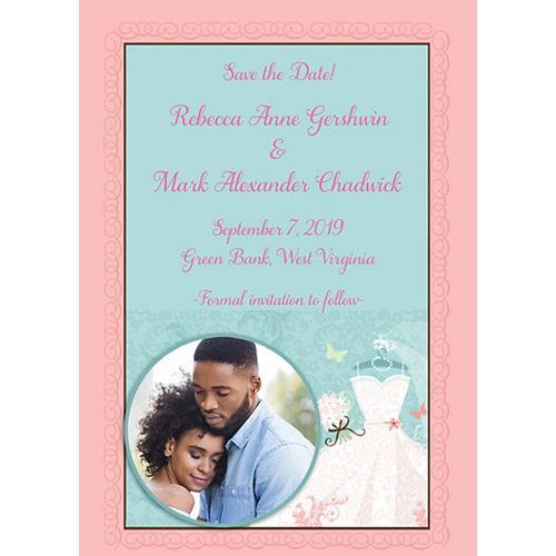 Custom Something Blue Bridal Shower Photo Announcements Image #1