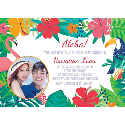 Custom Tropical Jungle Photo Invitations Image #1