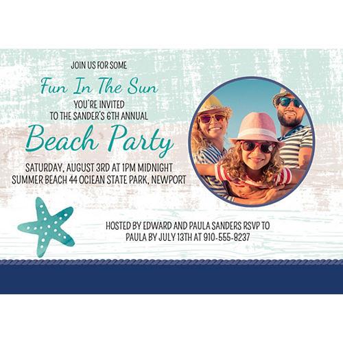 Custom Sea, Sand & Sun Photo Invitations Image #1
