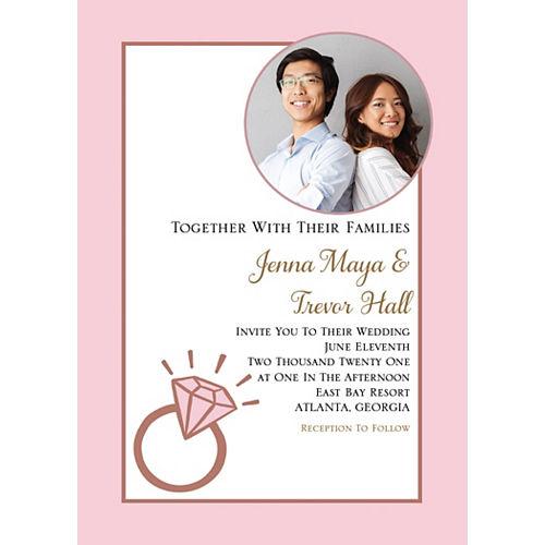 Custom Blush Wedding Photo Invitations Image #1