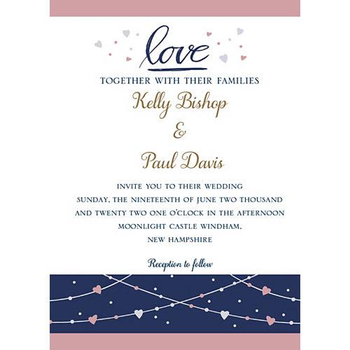 Custom Navy Love Bridal Invitations Image #1