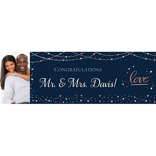 Custom Navy Love Bridal Photo Horizontal Banner Image #1