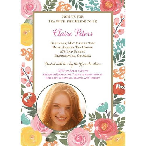 Custom Bright Floral Photo Invitations Image #1