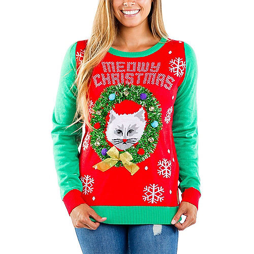 Adult Meowy Christmas Ugly Sweater Image #1