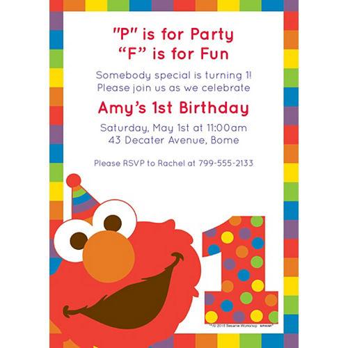 Custom Elmo 1st Birthday Invitations Image #1
