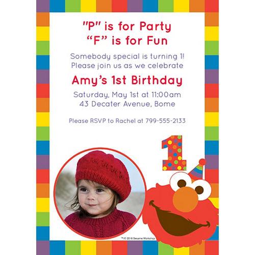 Custom Elmo 1st Birthday Photo Invitations Image #1